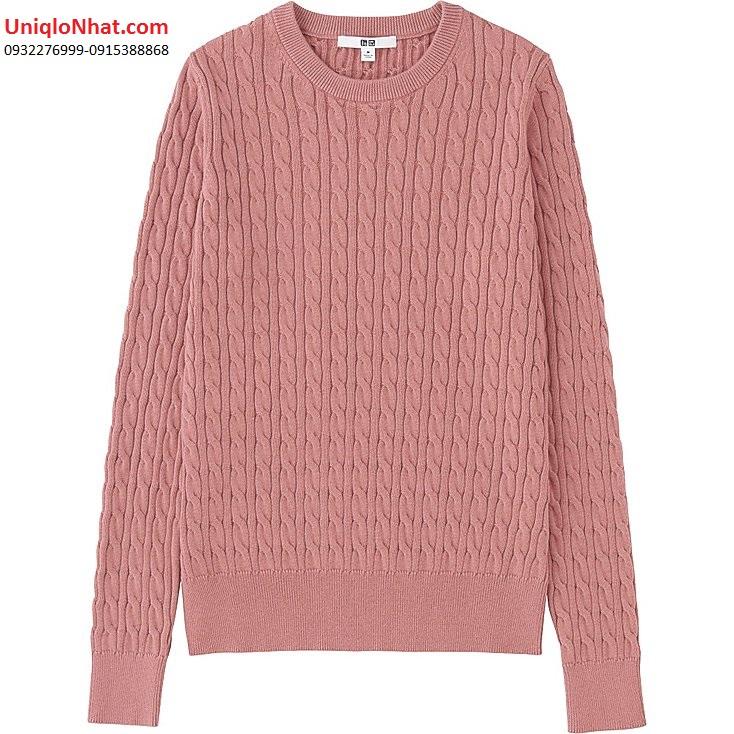 Áo Len Cotton Cashmere Uniqlo (12 Pink)