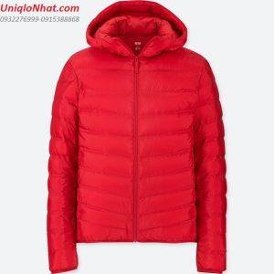 Áo phao lông vũ Uniqlo 2019 nam mầu đỏ có mũ