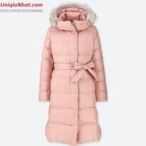 Áo lông vũ Uniqlo dáng dài mũ lông 2019 mầu hồng