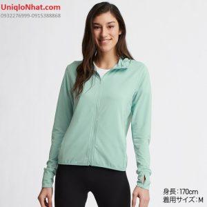 Áo chống nắng Uniqlo 2019 thun lạnh mầu xanh ngọc