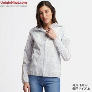 Áo gió Uniqlo nữ chống nắng mưa bụi mầu trắng