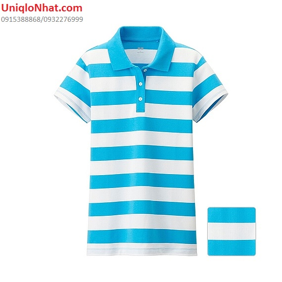 Áo phông Polo Uniqlo nữ kẻ xanh