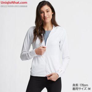 Áo chống nắng Uniqlo 2019 thun lạnh mầu trắng