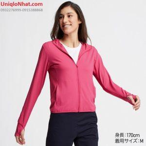 Áo chống nắng Uniqlo 2019 thun lạnh mầu hồng đậm